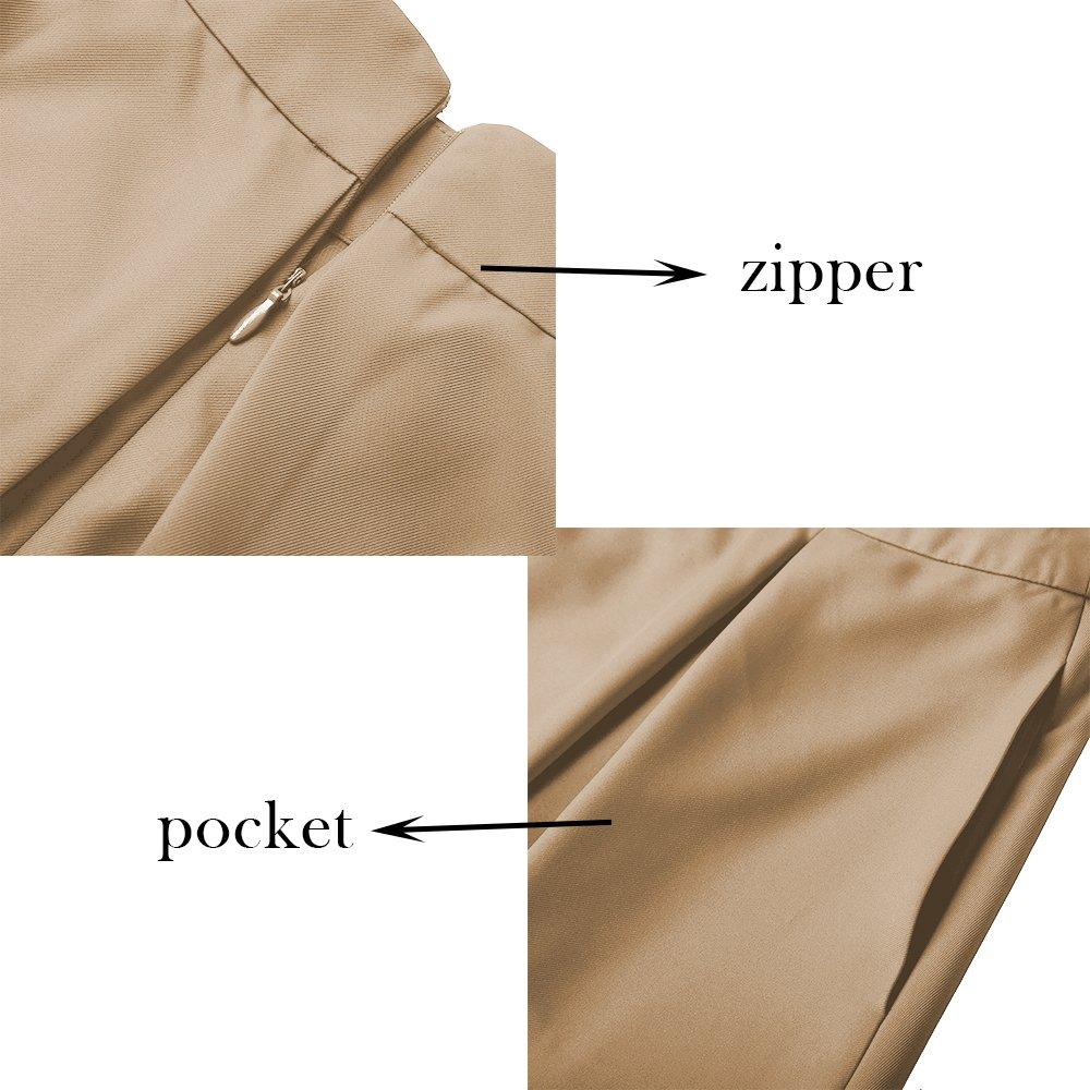 efd5f5898 Yige Women's High Waisted A line Skirt Skater Pleated Full Midi Skirt Khaki  US6