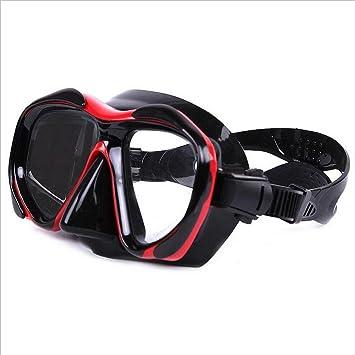 Gafas de buceo de gel de sílice negro y rojo de alta calidad para adultos Buceo