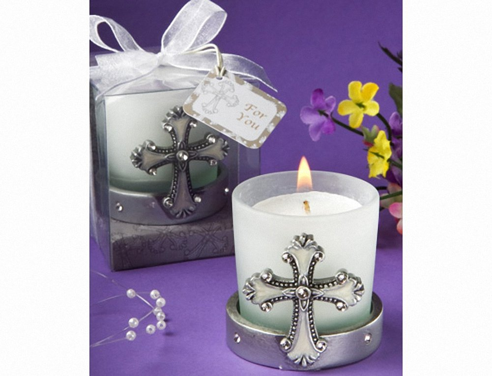 Regal Favor Collection cross themed candle holders (Set of 48)