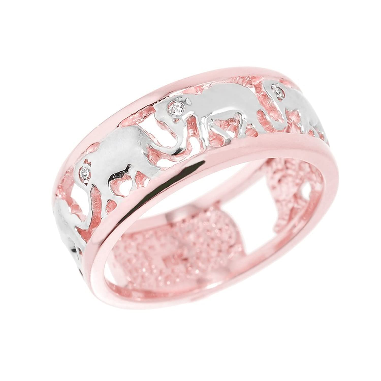 Amazon.com: Fine 14k Rose Gold Open Design Band Diamond Elephant ...
