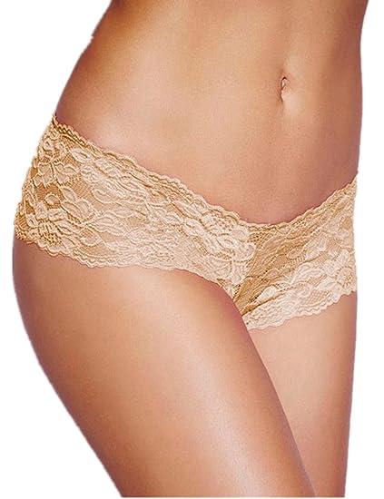 b1feb53e382 ohyeah Women Sexy Panties Underwear Lace Panties See Through Boyshort Beige  US 4-6