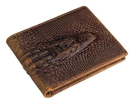 Circlefly Carpeta Caballo loco cuero cartera sección cartera cocodrilo patrón billetera de cuero
