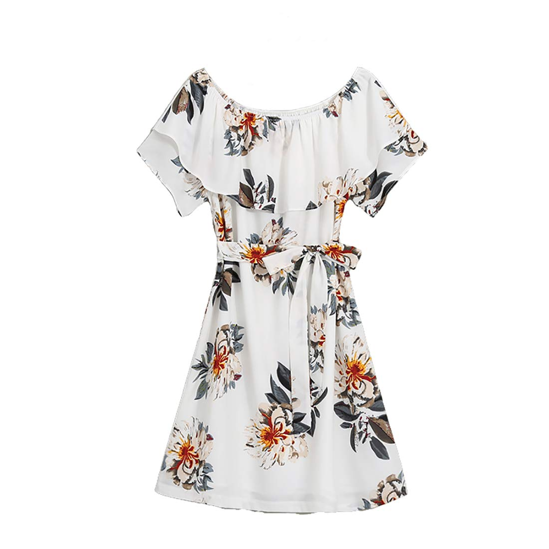 PopReal Mommy and Me Floral Printed Dresses Chiffon Bowknot Ruffles Short Sleeve Beach Family Matching Outfits
