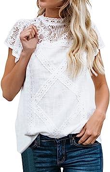MINXINWY Camisetas Tops Mujer Fiesta, 2019 Camisas Mujer Verano Vestir Camisas Sexy Mujeres Camiseta de Manga Corta Camiseta Costura de Encaje Color sólido Blusas: Amazon.es: Deportes y aire libre