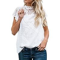 Camisetas Mujer SHOBDW Dia de la Mujer Verano Patchwork De Encaje Casual Ahuecar Volantes Manga Corta Suéter De Cuello…
