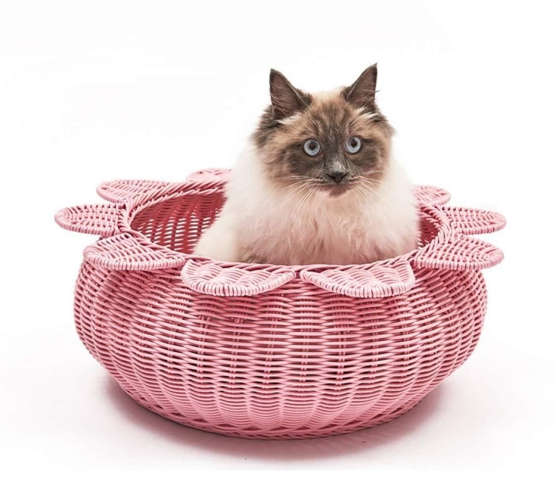 YWJHY Ratán de Arena para Gatos Caída Lavable Mascota Nido Pequeño Regalo Perrera Moda