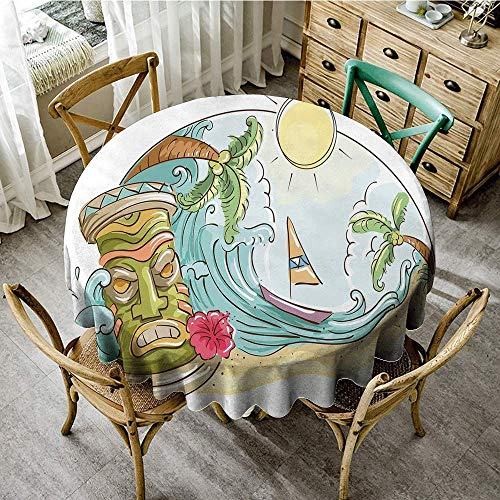 DONEECKL Antifouling Tablecloth Tiki Bar Decor Circular Frame with Tropical Accents Cartoon Beach Tiki Statue Illustration Great for Buffet Table D63 ()