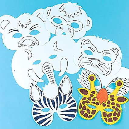 Pack of 6 Baker Ross Animal Color in Craft Masks for Children to Decorate /& Wear as a Part of a Costume at a Fancy Dress Party