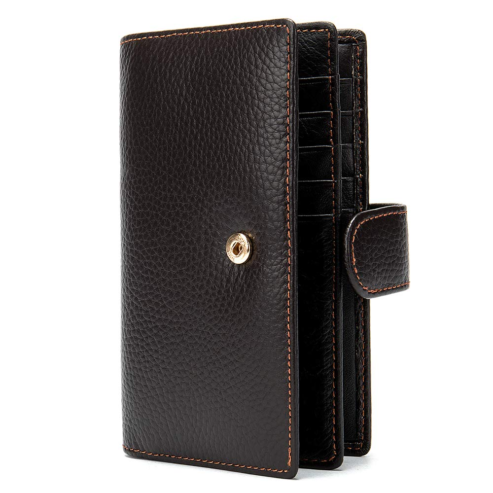 Mens Genuine Leather Bifold Wallet Organizer Checkbook Card Case