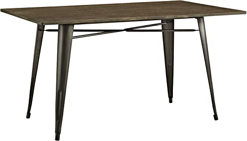 Modway Alacrity 59″ Rustic Modern Farmhouse Wood Rectangle Dining Table