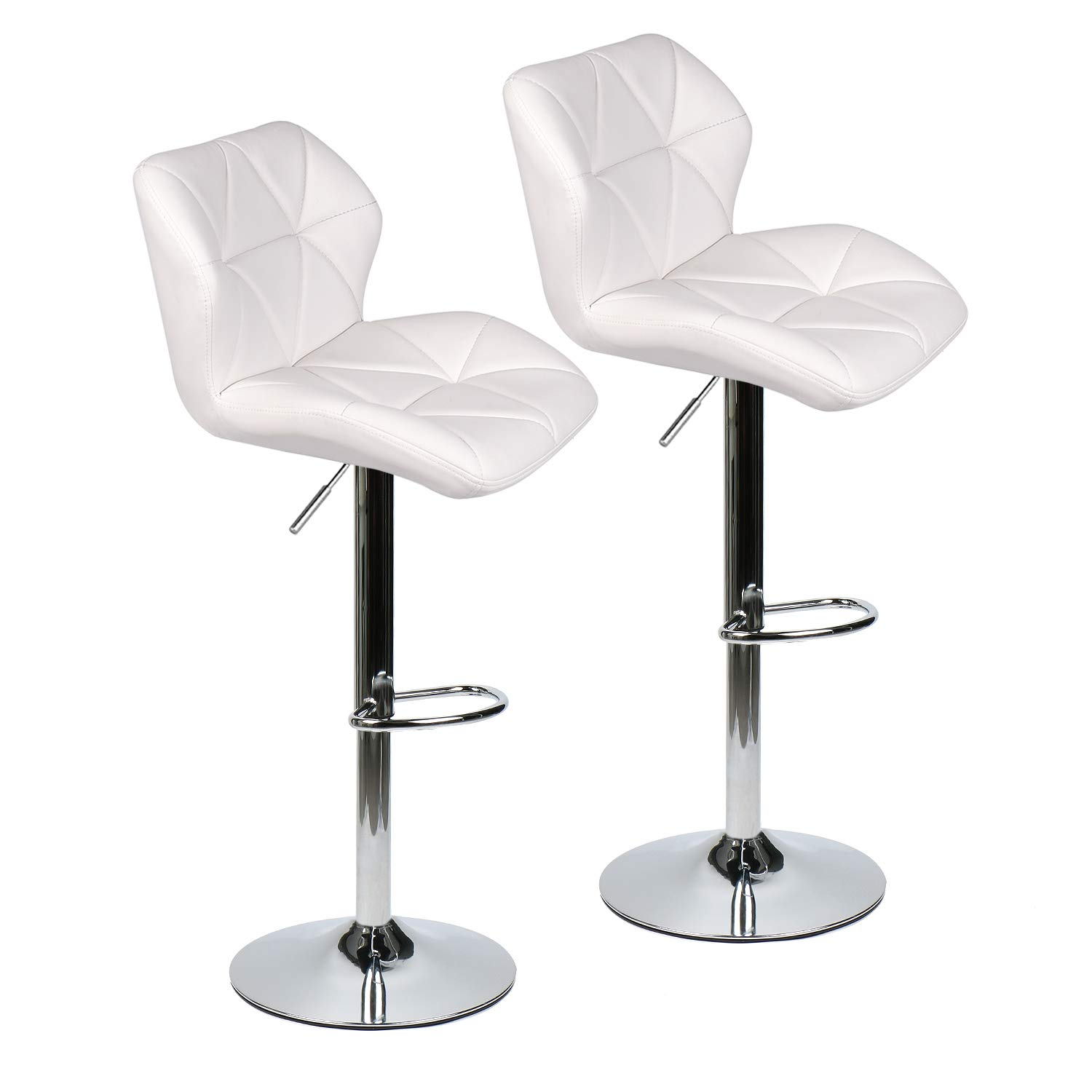 ELECWISH Bar Stools Set of 2 White PU Leather Seat with Chrome Base Swivel Dining Chair Barstools White 2pc