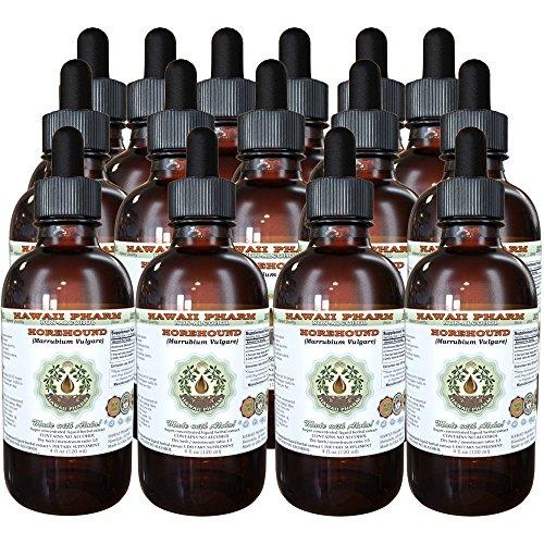 Horehound Alcohol-FREE Liquid Extract, Organic Horehound (Marrubium vulgare) Dried Herb Glycerite Hawaii Pharm Natural Herbal Supplement 15x4 oz by HawaiiPharm