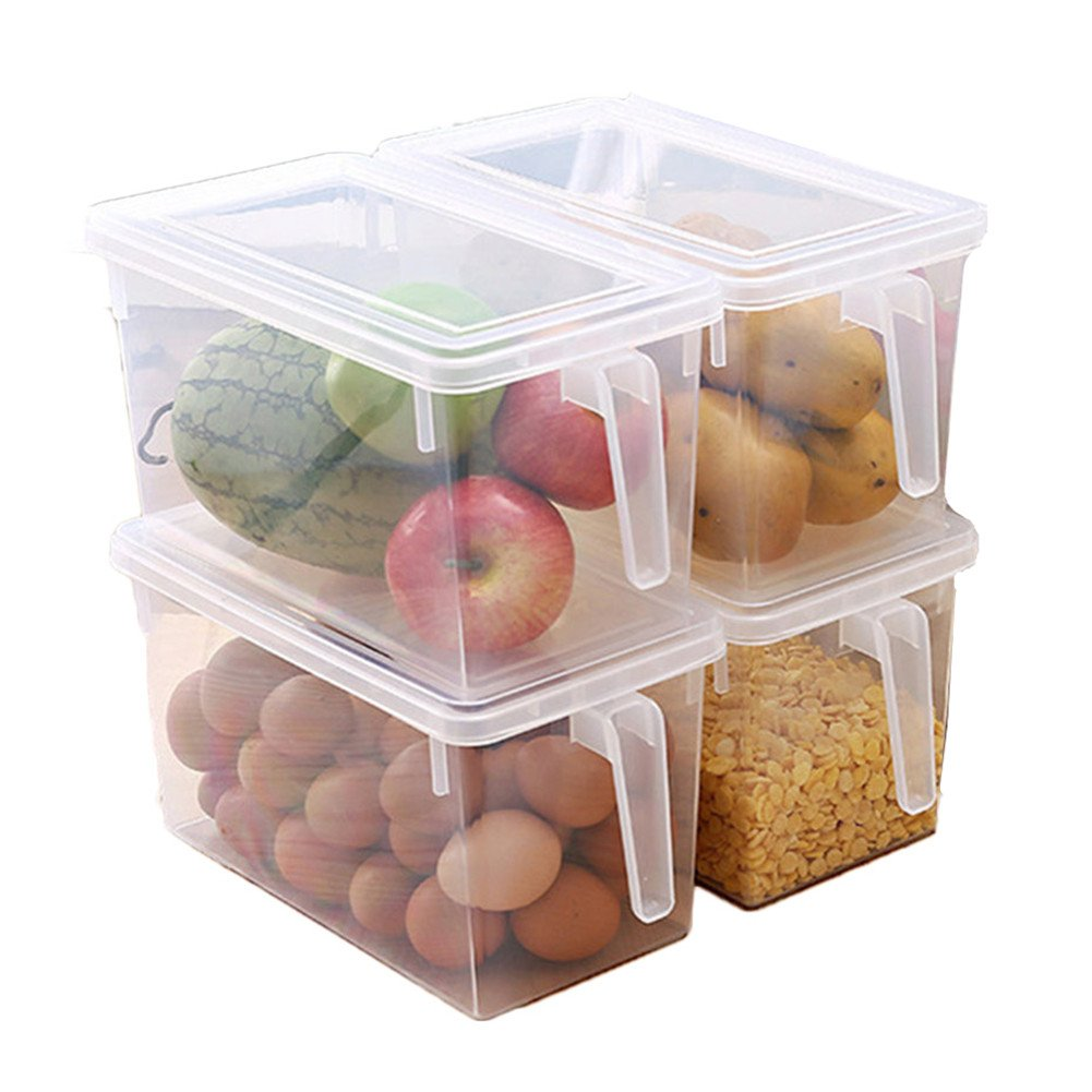 MineDecor Plastic Storage Containers Square Handle Food Storage Organizer Boxes with Lids for Refrigerator Fridge Cabinet Desk (Set of 4 Pack, Large Organizer Bins)