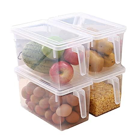 Superb MineDecor Plastic Storage Containers Square Handle Food Storage Organizer  Boxes With Lids For Refrigerator Fridge Cabinet