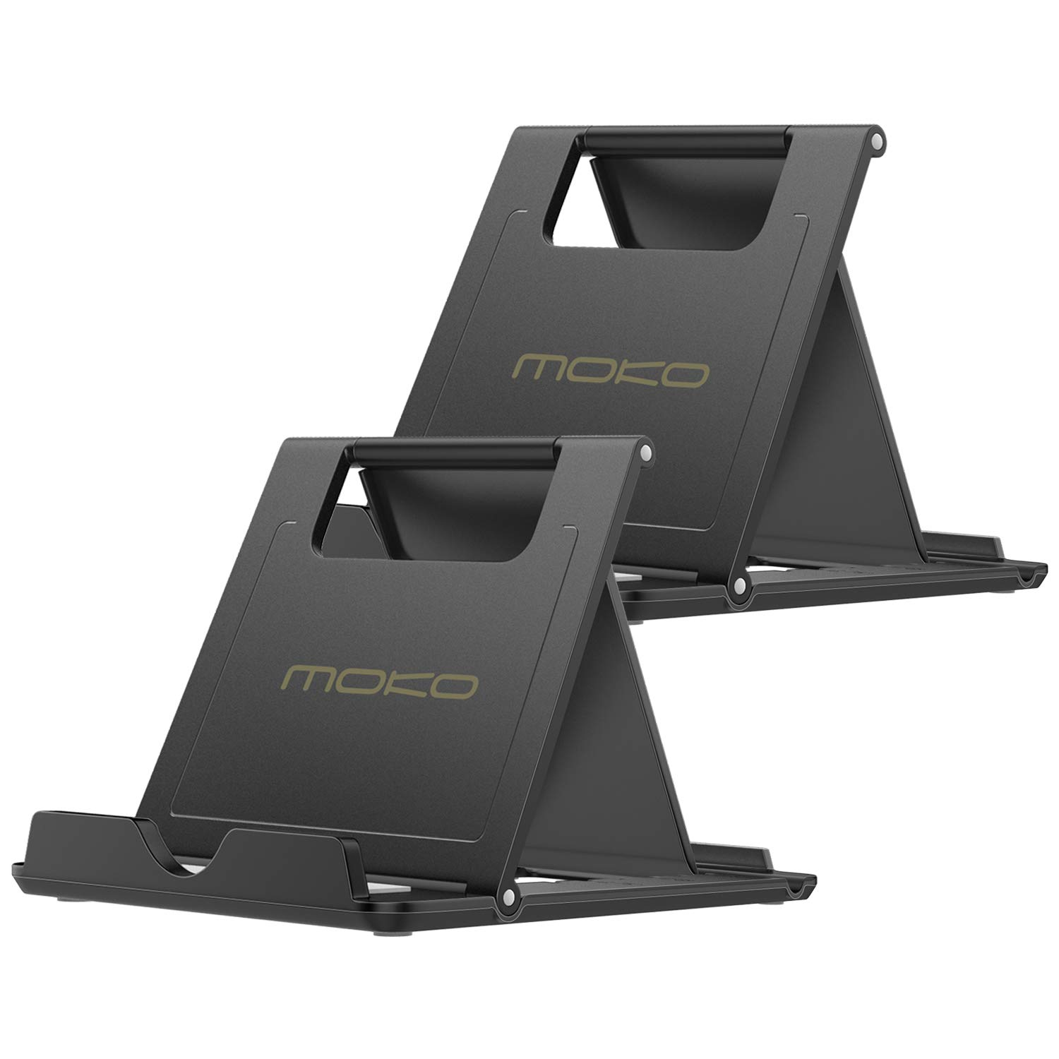 [2 Pack] MoKo Cellphone/Tablet Stand, Foldable Desktop Holder Compatible with iPhone Xs/XS Max/XR/X Galaxy S10 New iPad Air 3rd Gen iPad Mini 5th Gen iPad Pro 11 2018 Nintendo Switch, Black