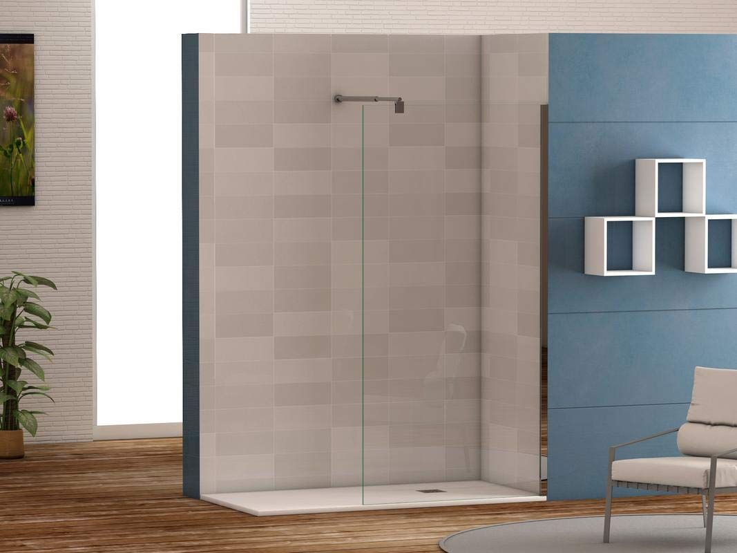 Mampara de ducha frontal panel fijo con cristal transparente ...
