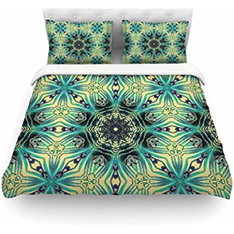 KESS InHouse AC1122ACD02 Duvet Cover Alison Coxon Paradise Yellow 2 Teal Yellow Queen Featherweight Duvet Cover 88 X 88