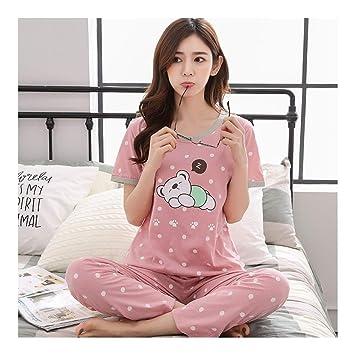 énorme inventaire joli design taille 40 HAOLIEQUAN Pyjama Femmes Ensembles À Manches Courtes en 2 ...