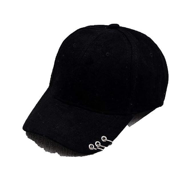 hot sale online half off elegant shoes Unisex Solid Ring Safety Pin Curved Hats Baseball Cap Men ...