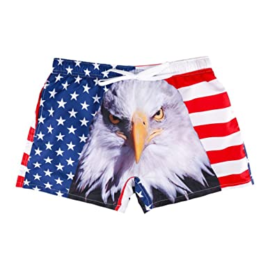 a4a2ef4a4e BaronHong Creative 3D Print Men's Beach Swimming Trunks Square Leg Swimsuit( American-Eagle,