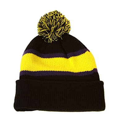 Image Unavailable. Image not available for. Color  Winter Striped Beanie  with Pom - Yellow Black 8f41221eff8