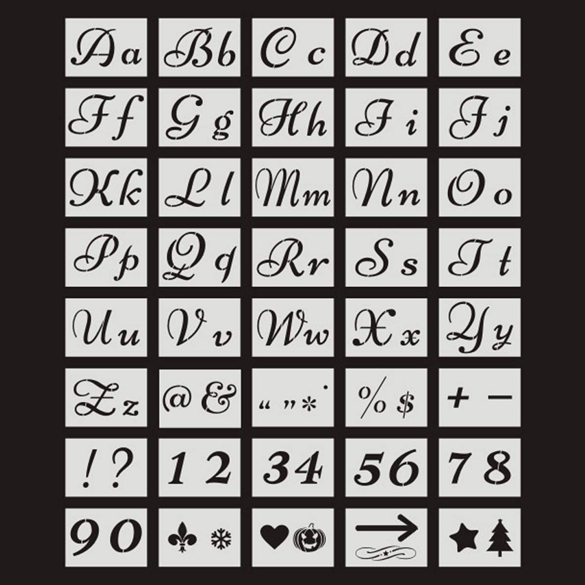 Kitchnexus Pochoir Lettre Lavable Pochoirs Lettres et Chiffres R/éutilisable Conceptions Kit de 40pcs 80 Conceptions par Paquet