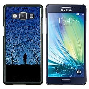 TECHCASE---Cubierta de la caja de protección para la piel dura ** Samsung Galaxy A5 ( A5000 ) 2014 Version ** --Blue Night Forrest