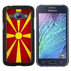TECHCASE---Cubierta de la caja de protección para la piel dura ** Samsung Galaxy J1 J100 ** --Nacional bandera de la nación País macedonio
