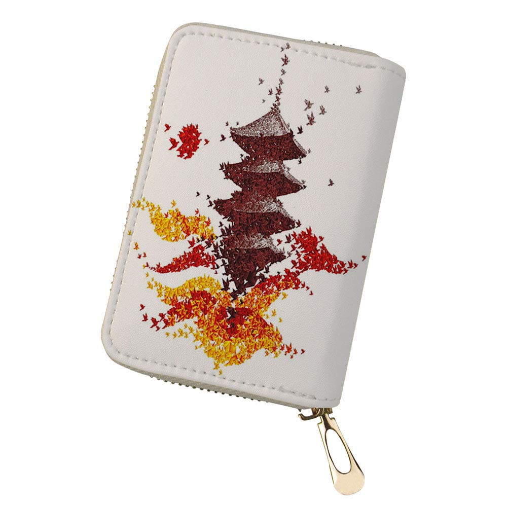 RFID Blocking Credit Card Holder Affection Artistic Leather Zipper Card Case