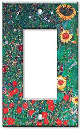 Single Gang Rocker Wall Plate - Klimt: Sunflowers