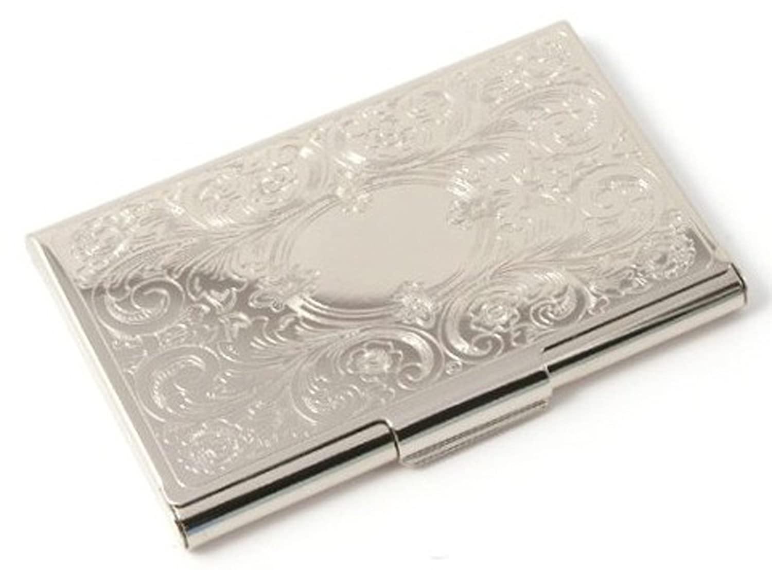 Deluxe stainless steel metal business credit card holder case silver deluxe stainless steel metal business credit card holder case silver monogram amazon office products reheart Image collections