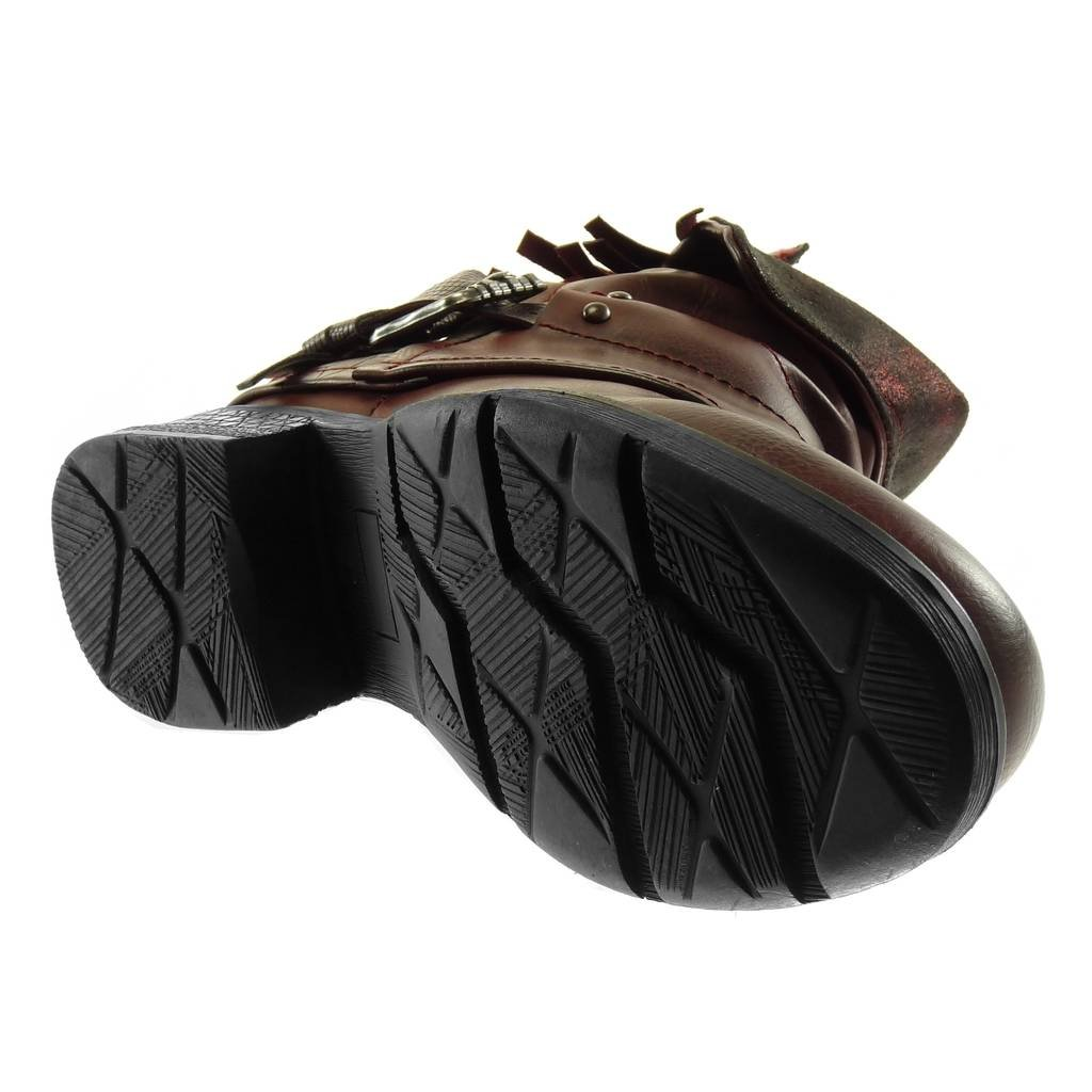 Chaussure Mode Bottine Motard Couverte Effet Vieilli Femme Frange Boucle lani/ère Talon Haut Bloc 3.5 CM Angkorly Int/érieur Fourr/ée