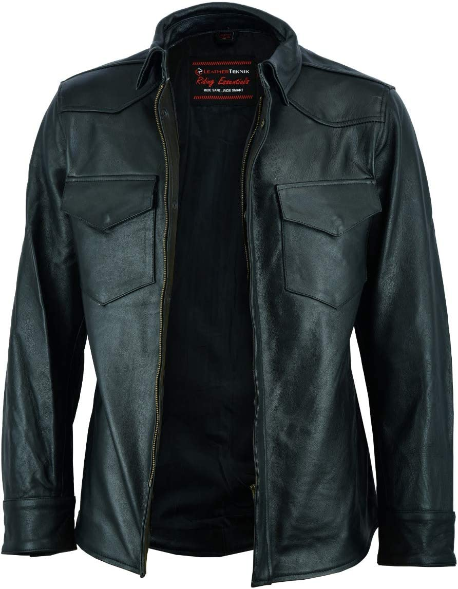 MOTORCYCLE BIKERS LEATHER SHIRT ML-2028 XL