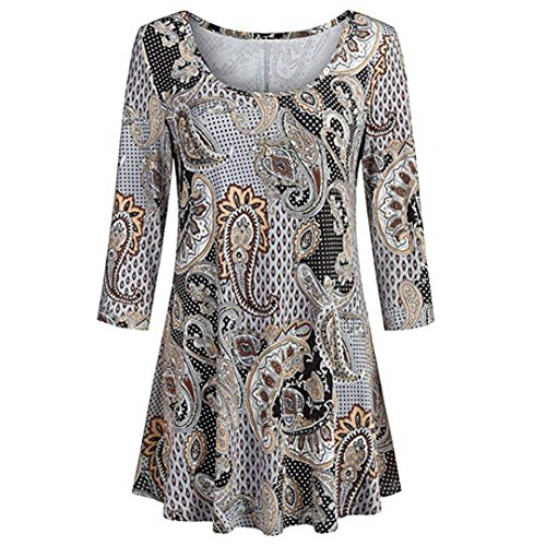 Minisoya Women Paisley Printed Tunic T-Shirts 3/4 Sleeve Vintage Floral Blouse Casual Draped Pleated Long Tops Shirt (Brown, L)