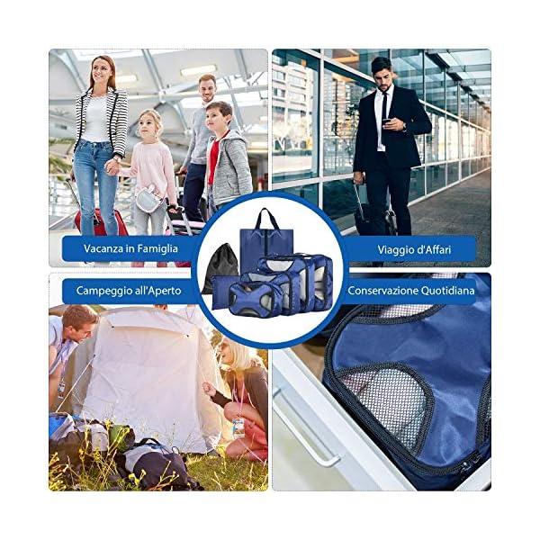 CISHANJIA Organizer Valigie Set di 7 Cubo di Viaggio Cubi di Imballaggio con Contenitore per Cosmetici, Sacca… 6 spesavip