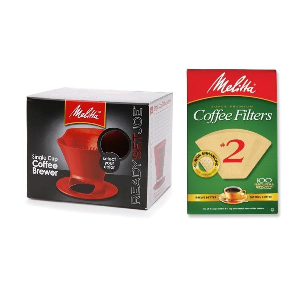 Melitta Pour Over Coffee Cone Brewer & #2 Filter Natural Brown Combo Set, Red