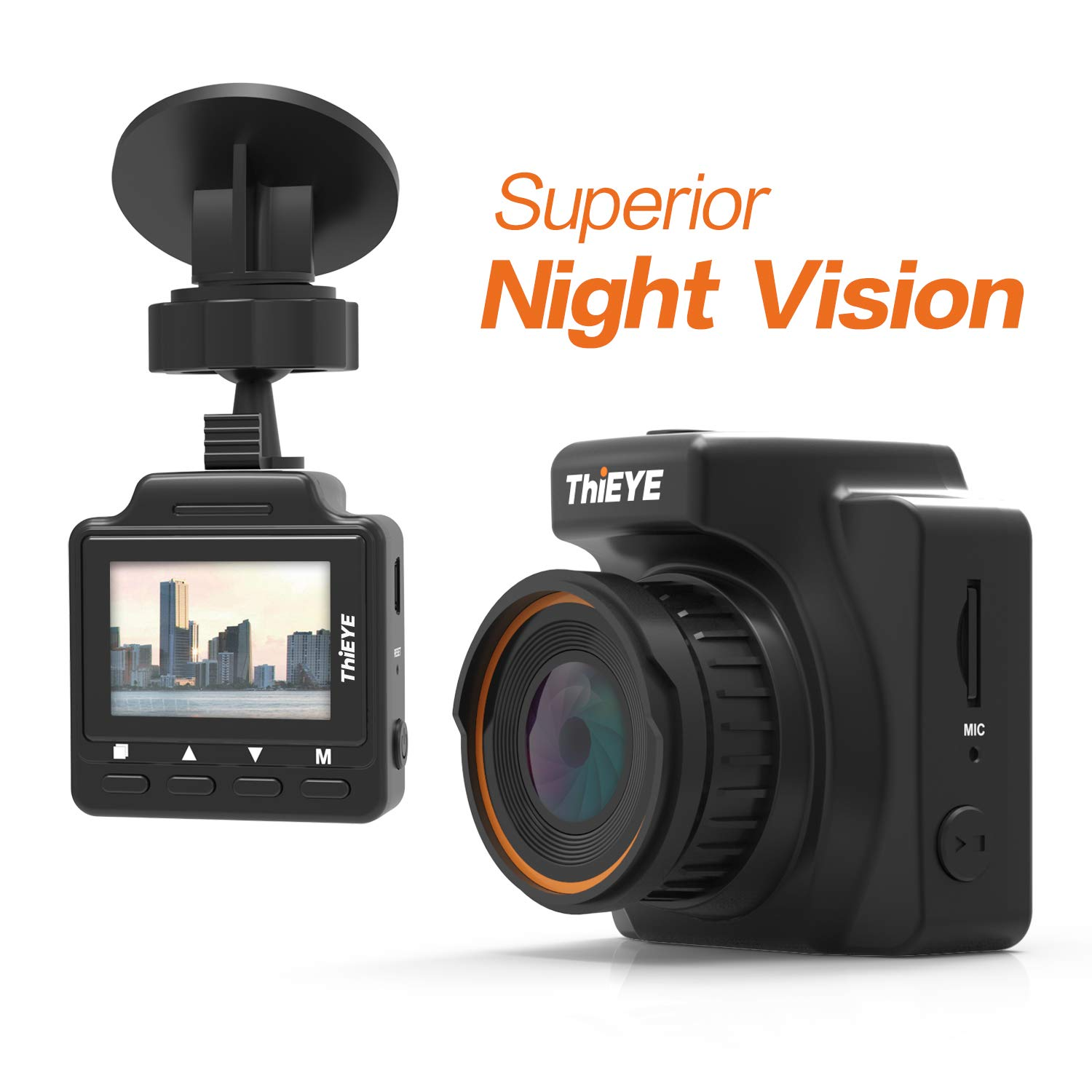 Dash Cam,Night Vision ThiEYE Dashboard Camera Small Recorderwith Full HD1296P Safeel ONE Parking Monitor Built-in G-Sensor Loop Recording