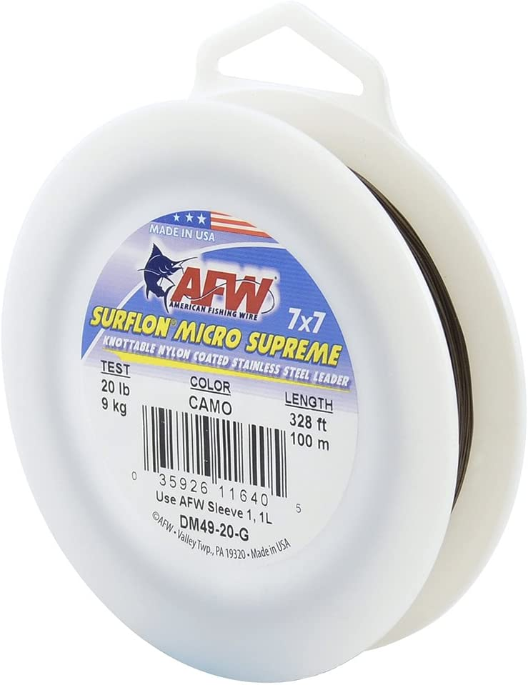 """Camo Brown /"""" Surflon Micro Supreme Nylon Coated 7x7 Stainless Steel Leader Wire"""