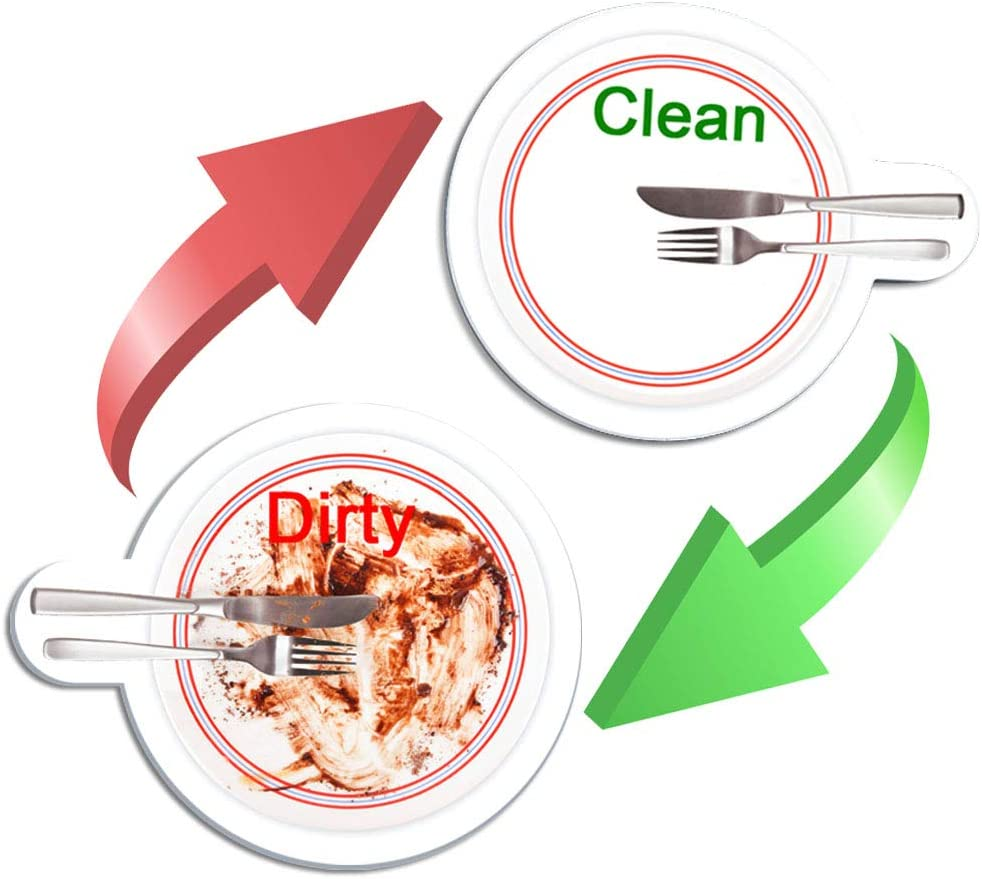 """Clean Dirty Dishwasher Magnet, TUPSKY 2"""" Double Sided Round Strong Magnet Dishwasher Flip Sign (1 Pack)"""