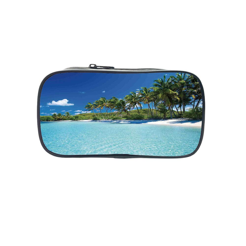 Customizable Pen Bag,Ocean Decor,Relax Beach Resort Spa Palm Trees and Sea,for Kids,3D Print Design