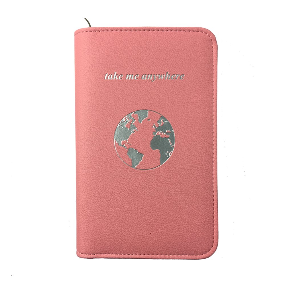 Phone Charging Passport Holder -Multiple Variations with Upgraded Power Bank- RFID Blocking - Travel Wallet Compatible with All Phones - Travel Accessories (Blush) by lovie style
