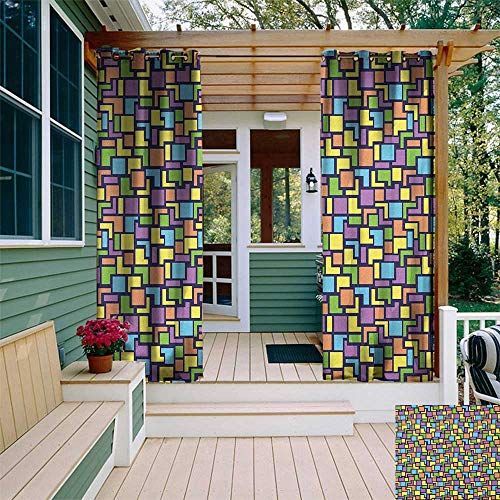 leinuoyi Geometric, Outdoor Curtain Set, Colorful Composition with Angled Stripes and Squares Retro Style Arrangement, Balcony Curtains W108 x L108 Inch Multicolor