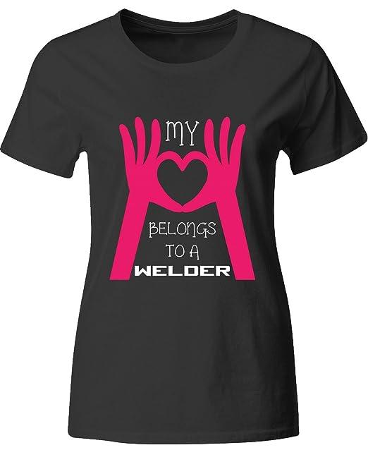 Mi Corazón Pertenece a un soldador gran regalo para cualquier fan de soldadura - Camiseta para mujer: Amazon.es: Ropa y accesorios