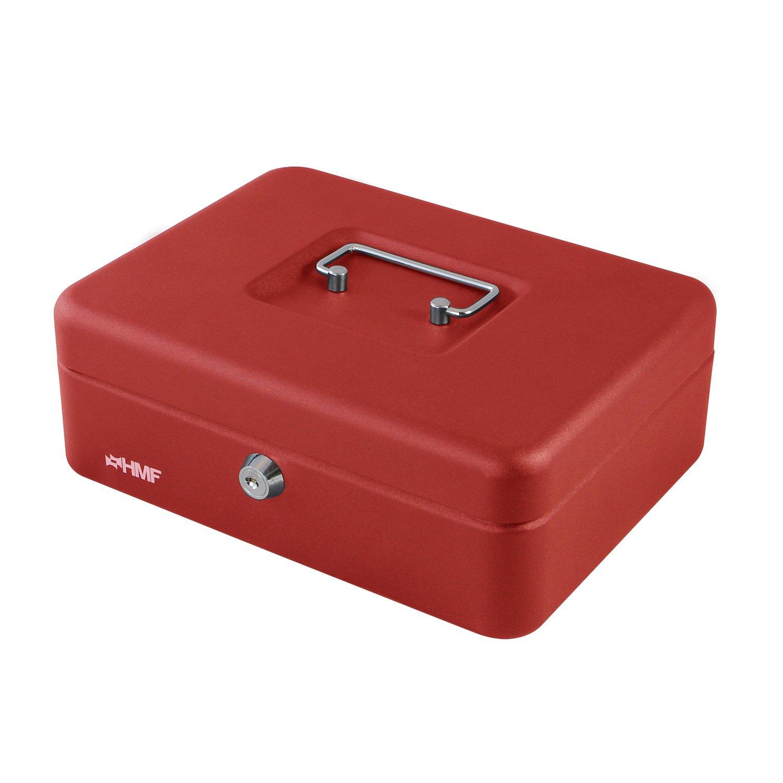 HMF 10022-03 Cassetta Portavalori con Vassoio Porta Monete e Banconote 25 x 18 x 9 cm rosso
