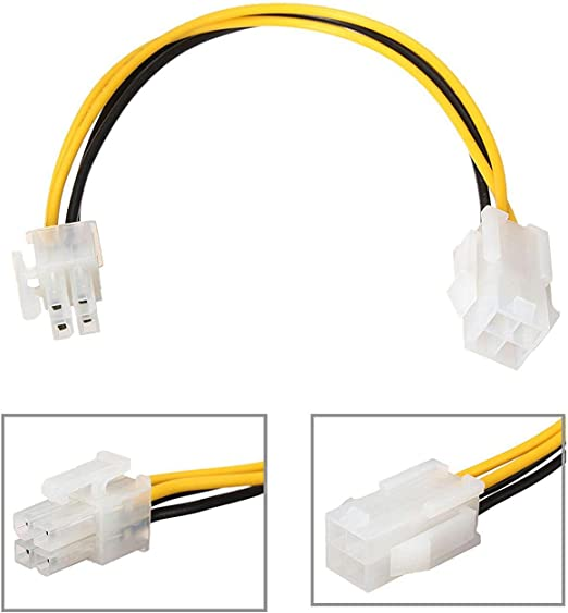 Motherboard P4 12V 4 pin Power Extension Cable 2x2pin Distributed by NAC Wire and Cables 12inch Male to Female 18AWG
