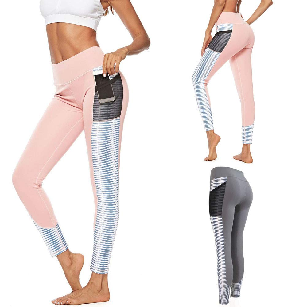 Women Workout Out Patchwork Pocket Leggings Fitness Sports Yoga Athletic Pants