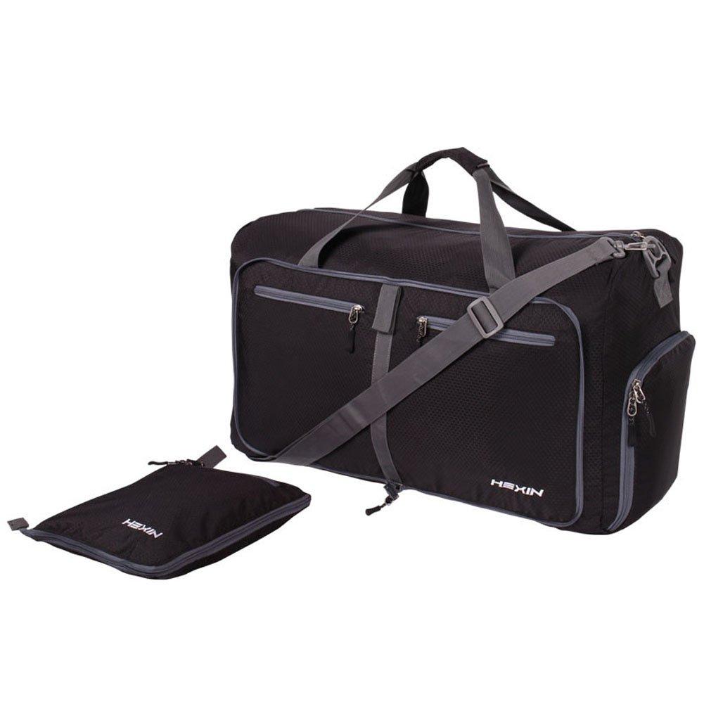 HEXIN Women & Men Foldable Travel Duffel Bag Black 85L Duffle for Luggage Gym Sports