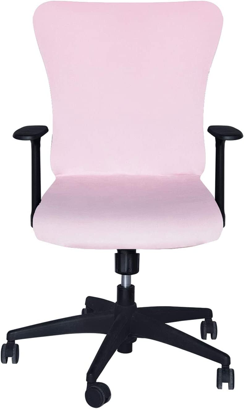 SARAFLORA Velvet Office Chair Covers Stretch Washable Computer Chair Slipcovers for Universal Rotating Boss Chair Large Size Pink
