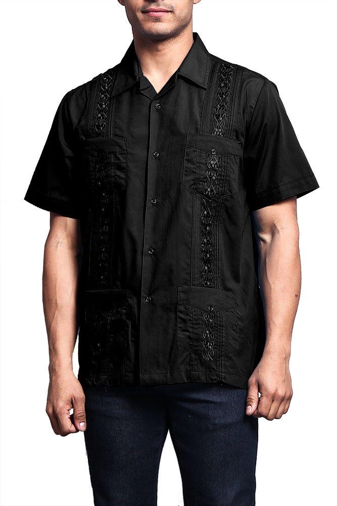 G-Style USA Men's Short Sleeve Cuban Guayabera Shirt 2000-1 - Black - 3X-Large