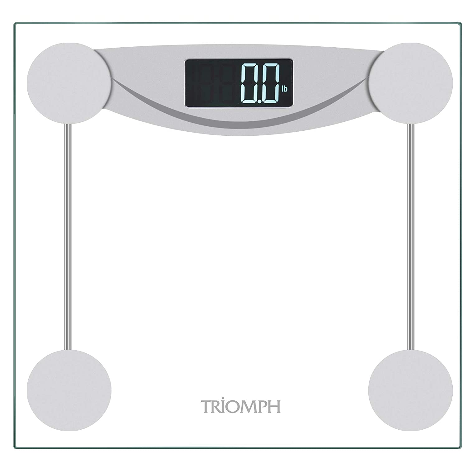Amazon com triomph smart digital body weight bathroom scale with step on technology lcd backlit display 400 lbs capacity and accurate weight measurements